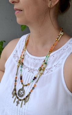Bronze Charms Necklace with Glass Beads, Summer Trend Long Multistrand Necklace, Clock Charm, Hippie, Boho (166) by LKArtChic on Etsy