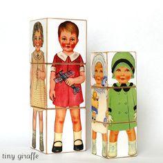 JUMBO Classic Paper Doll Wood Blocks Eco Friendly Children's Wood Toy Puzzle. $22.00, via Etsy.