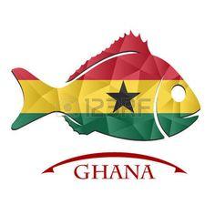 Logotipo de pescado hecho de la bandera de Ghana.