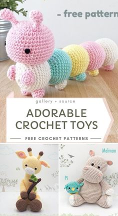 Cute Adorable Crochet Toys - Adorable Amigurumi Toys With Free Crochet Patterns. - Cute Adorable Crochet Toys – Adorable Amigurumi Toys With Free Crochet Patterns Crochet Motifs, Crochet Amigurumi Free Patterns, Crochet Animal Patterns, Stuffed Animal Patterns, Crochet Animal Amigurumi, Knitted Toys Patterns, Crochet Stuffed Animals, Crotchet Animals, Easy Crochet Animals
