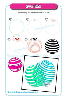 SwirlBall by Ina Sonnenmoser Zentangle Drawings, Doodles Zentangles, Doodle Drawings, Doodle Art, Zen Doodle Patterns, Zentangle Patterns, Doodle Borders, Tangle Doodle, Tangle Art
