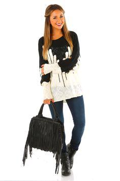 It's All The Rage Sweater: Black/Cream #shophopes