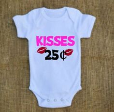 Kisses Valentine's Day Onesie or t-shirt for babies and kids//Cute Valentine Onesie// Kisses onesie