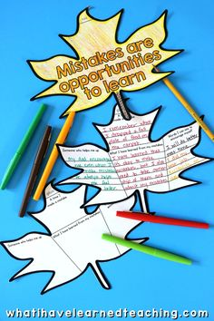 """A fun, engaging Fall Classroom Craft where students write or draw about what they do when they """"fall down"""" and make a mistake. Help students reflect on how to respond to their mistakes and build empathy for each other and themselves. Cut out a large tree and create an Autumn bulletin board with all of your kid's leaves! Great Fall classroom decor. #fallleaves #growthmindset #classroomcraft #fallclassroomdecore Classroom Crafts, Classroom Fun, Differentiation In The Classroom, Autumn Leaves Craft, Teaching Second Grade, Student Drawing, Classroom Community, Project Based Learning, Graphic Organizers"""