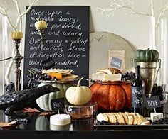 Adult Halloween party-painted branches-chald boards