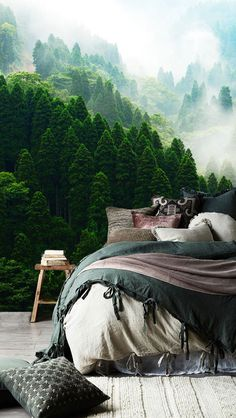 The Green Relaxed Forest Wall Mural Mountain View mural Forest Theme Bedrooms, Forest Bedroom, Room Ideas Bedroom, Bedroom Themes, Diy Bedroom Decor, Bedroom Sets, Forest Wallpaper, Of Wallpaper, Mountain Bedroom