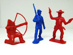 Vintage plastic figures soldier cowboy indian Tim by thewildburro, $9.00