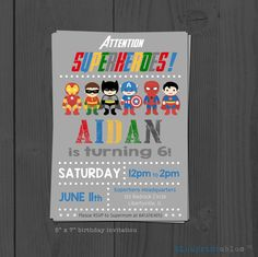 Superhero birthday invitation  personalized with by blueprintables