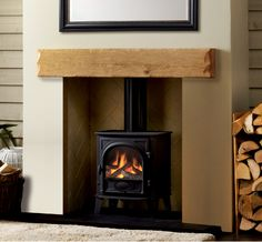 Large Fascia Beam: Aged Oak in a Natural Waxed Finish Focus Fireplaces, Fireplace Beam, Wooden Fireplace, Timber Beams, Fire Surround, Electric Fires, Log Burner, Open Fires, Ceiling Beams