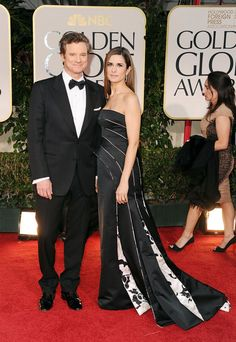 Actor Colin Firth (L) and wife Livia Giuggioli arrive at the 69th Annual Golden Globe Awards held at the Beverly Hilton Hotel on January 15, 2012 in Beverly Hills, California.