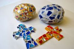 Make mosaic crosses and eggs for Easter