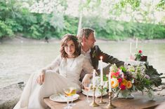 romantic boho picnic // photo by Colagrossi Studio, flowers by Orchid and Willow, view more: http://ruffledblog.com/riverside-bohemian-wedding-shoot/