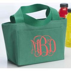 Small Monogram Lunch Tote | Monogrammed Lunch Bag