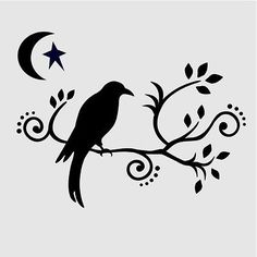 CROW STENCIL SCROLL SCROLLS BRANCHES TEMPLATES MOON STAR STENCILS TEMPLATE NEW