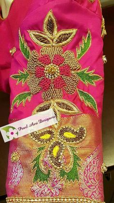 To buy, pls whatsapp on 9618821933 Hand Work Design, Hand Work Blouse Design, Simple Blouse Designs, Blouse Neck Designs, Sleeve Designs, Blouse Patterns, Embroidery Suits Design, Embroidery Works, Creative Embroidery