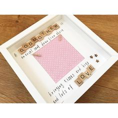 Stunning bespoke frame ideal for godparents - what a lovely way to thank them for being part of your childs life. A lovely gift for birthdays, christening days or Christmas. A mix of scrabble letters and stamps Are used to form the quote as above. Small wooden star. Please select