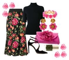 """""""A garden full of roses"""" by forgetrules ❤ liked on Polyvore featuring Dolce&Gabbana, Valentino, Kate Spade, Jimmy Choo, Oscar de la Renta, Amrita Singh and L'Oréal Paris"""