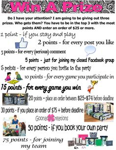 Goonan's Creations www.mythirtyone.com/JGoonan Points game for your closed FB parties