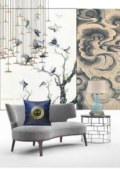 HE works丨Chinese style soft-mounted typesetting Chinese Interior, Asian Interior, Interior And Exterior, Chinese Furniture, Unique Furniture, Furniture Design, Chair Design, Le Style Zen, Asian Decor