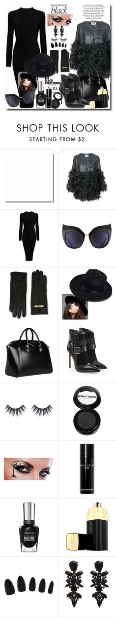 """Monochrome: All Black Everything"" by pesanjsp ❤ liked on Polyvore featuring Dorothee Schumacher, Anna-Karin Karlsson, Moschino, Givenchy, Balmain, Manic Panic NYC, Bobbi Brown Cosmetics, Chanel and allblack"