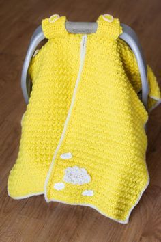 Car seat cover crochet pattern.  Catseat canopy. Like that it can be partly opened by lifting one side back