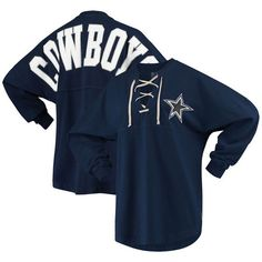 9ff65f9720e Dallas Cowboys NFL Pro Line by Fanatics Branded Women's Spirit Jersey Long  Sleeve Lace Up T-Shirt - Navy
