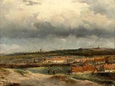 Johan Hendrik 'Louis' Meijer (1809-1866) Een vergezicht vanaf de duinen kijkend naar Den Haag. Op de voorgrond Scheveningen Dorp. (Coll. Christies.com)