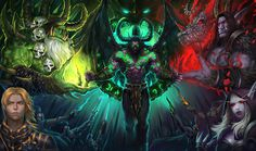 Love this so much!!! Gul'dan is upper right, below him is Prince, no wait, King Anduin.  Bottom right is Sylvanas (Warchief Sylvanas to you) and, I'm embarrassed to admit, being a huge WoW geek, I have no idea who the person in the upper right is.  Illidan's in the center.