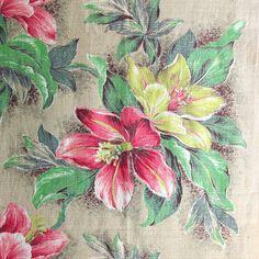 Vintage Tropical Floral Barkcloth Fabric Yardage, 1950s