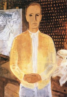 Bernáth, Aurél - Self Portrait in a Yellow Coat, 1930 Budapest, Planes Of The Face, Yellow Coat, Oil Painting Reproductions, Hanging Art, Caricature, Famous People, Oil On Canvas, Fine Art