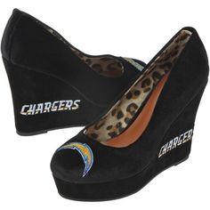 Cuce San Diego Chargers Ladies Groupie High Heel Wedges - Black