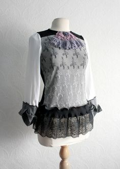 Gray Women's Blouse Upcycled Clothing by BrokenGhostClothing, $59.00