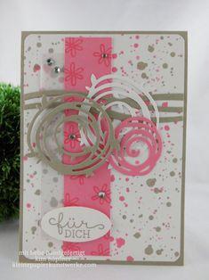 geburtstagskarte mit swirly bird und flamingorot