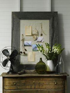 An unfinished, simple, organic look for this vignette.