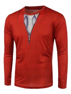 Knitwear 3D Print Round Neck T-Shirt #CLICK! #clothing, #shoes, #jewelry, #women, #men, #hats
