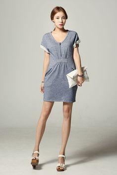 Zip Shirring Waist Dress