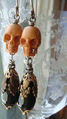 Hand Carved Bone Skull Bead Charm with  Filigree by CobwebPalace, $67.00