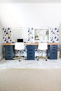 A DIY home office with a wallpaper accent wall, IKEA hacks, and other clever upgrades.