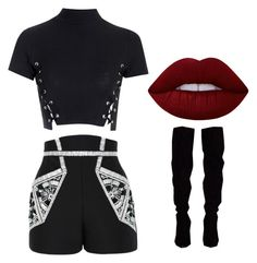 All black by abeer111 on Polyvore featuring polyvore, moda, style, Glamorous, sass & bide, Lime Crime, fashion and clothing