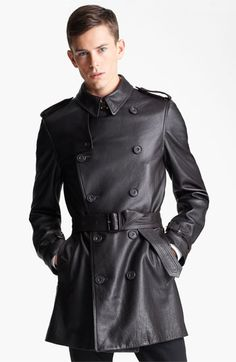 Burberry London Belted Leather Trench