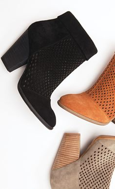 suede ankle booties with preforated detail, rounded toe stacked heel