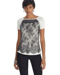 Short Sleeve Lace Jeweled Sweater