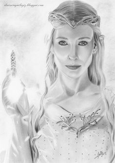 Pencil Drawing Galadriel by Isabel Morelli