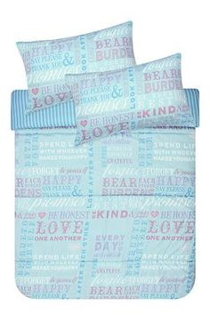 """Our comforter set, made with 100% polyester has a hollow fibre inner. This comforter with typography design is an effective way to add interest to any bedroom. Three quarter includes 1 standard pillowcase, double, queen and king include 2 standard pillowcases, 2 conti's, nightfrill and comforter.<div class=""""pdpDescContent""""><BR /><BR /><b class=""""pdpDesc"""">Fabric Content:</b><BR />100% Polyester</div>"""