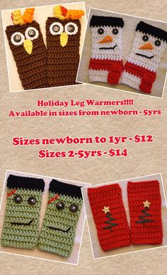Holiday Crochet Leg Warmers  Halloween Leg by JeannaSadorra,