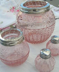 pink depression glass  I have one large clear. I gave a pink one as a gift