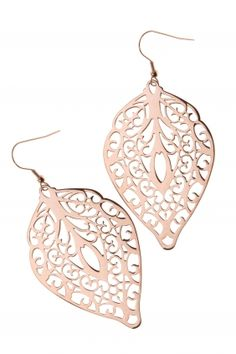 LEAF stainless steel earrings with rose gold plating