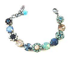 BAHAMA RHAPSODY Swarovski crystal bracelet, opals, blue, mint green, flower embellished Siggy bling