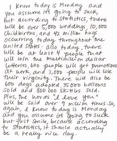 Mondays      this is the greatest thing ever written.    perfection