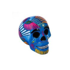 NOVICA Mexican Hand Painted Blue Decorative Ceramic Skull (44 AUD) ❤ liked on Polyvore featuring home, home decor, decor accessories, home accents, yellow, skull home decor, mexican home decor, skull home accessories, yellow home accessories and blue home decor